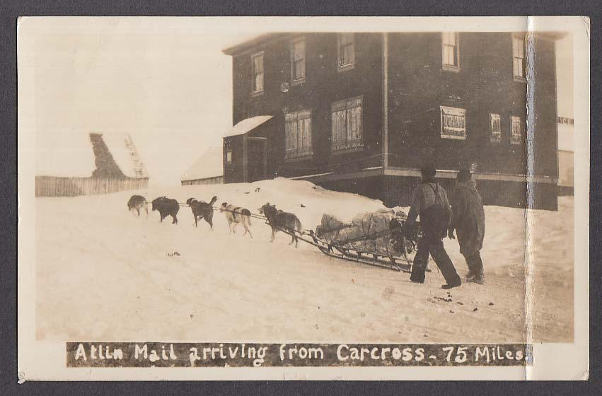 Atlin Mail arriving from Carcross British Columbia Canada RPPC postcard 1924