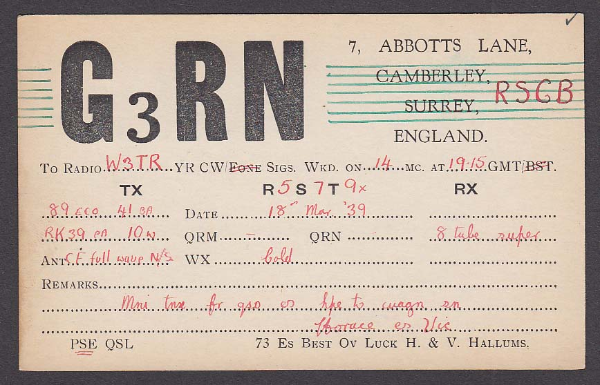 G3RN Hallums Surrey England QSL Ham Radio postcard 1939
