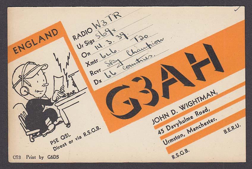 G3AH John D Wightman Urmston Manchester England QSL Ham Radio postcard 1939