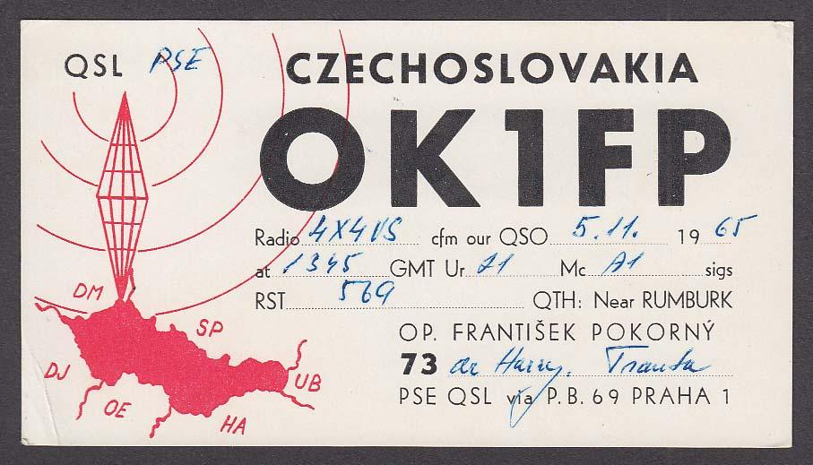 OK1FP Frantisek Pokorny Czechoslovakia QSL Ham Radio postcard 1965