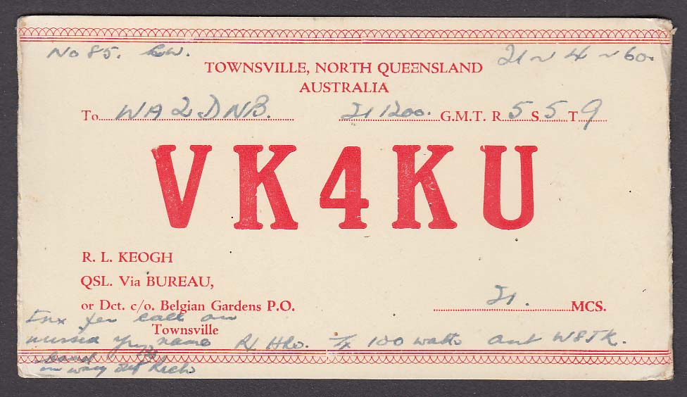 VK4KU Townsville North Queensland Australia QSL Ham Radio postcard 1960