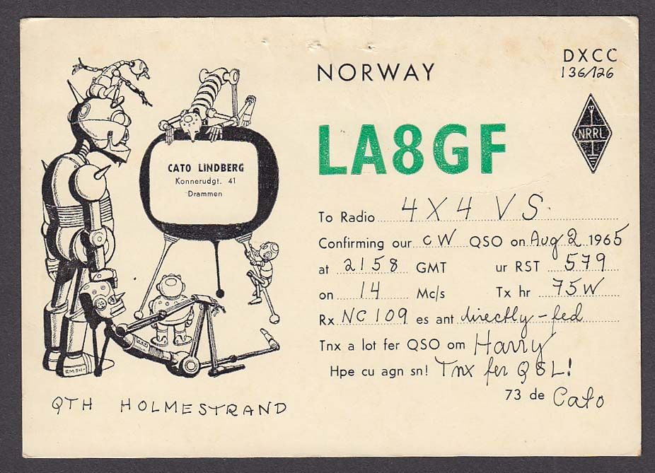 LA8GF Cato Lindberg Norway QSL Ham Radio postcard 1965