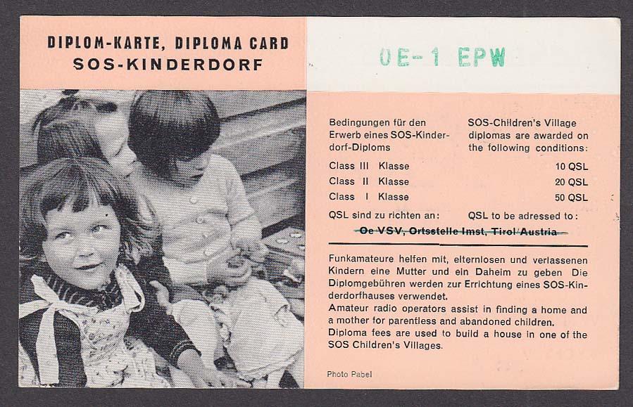 OE1EPW Austria QSL Ham Radio postcard 1966