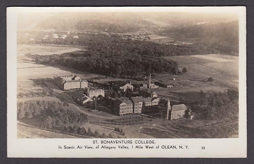 St Bonaventure College Allegheny Valley Olean NY RPPC postcard 1940s