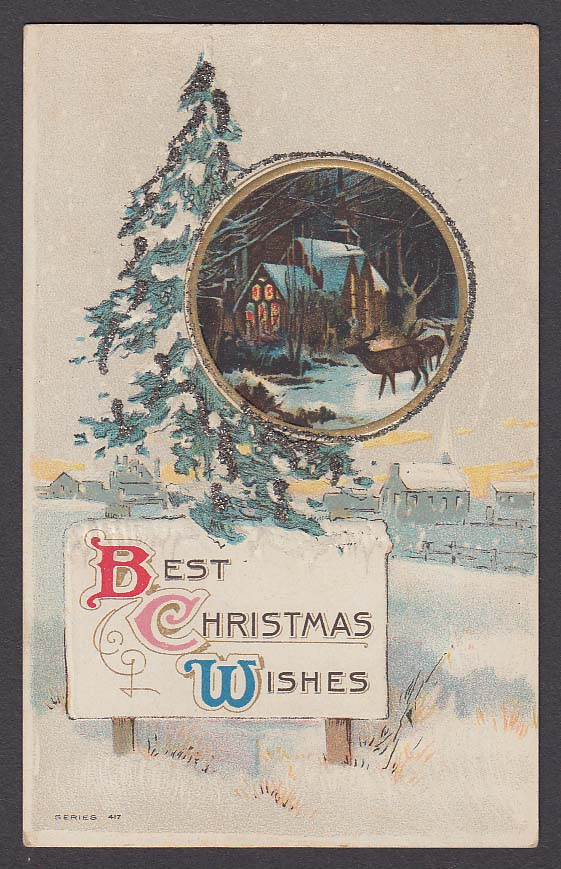 Best Christmas Wishes embossed glitter added postcard 1910s
