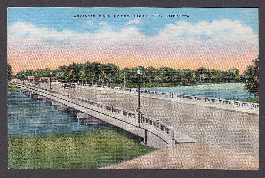 Arkansas River Bridge Dodge City KS postcard 1930s
