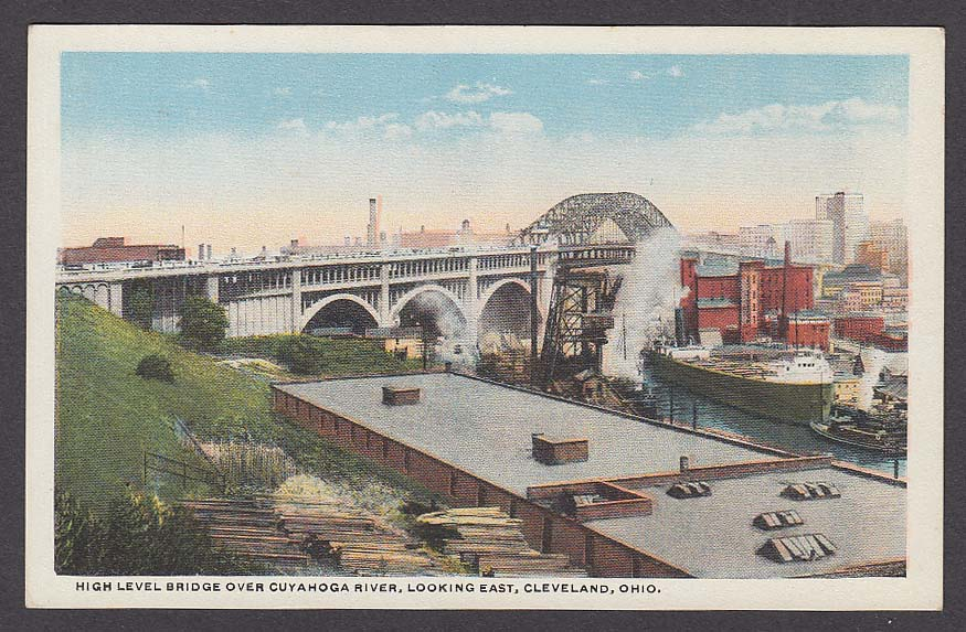 High Level Bridge over Cuyahoga River looking East Cleveland OH postcard 1920s