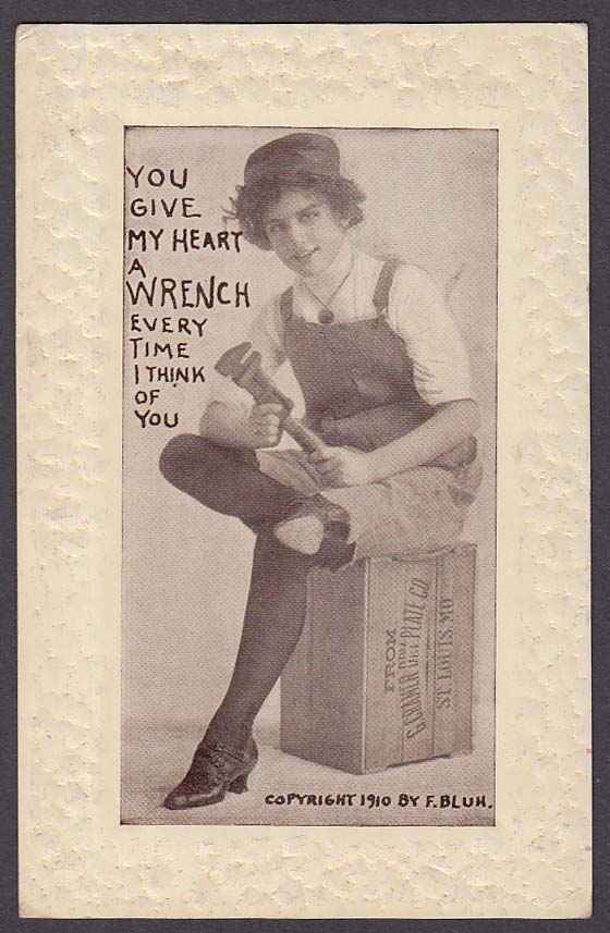 """You Give My Heart a Wrench"" G Cramer Dry Plate Co crate postcard 1910"