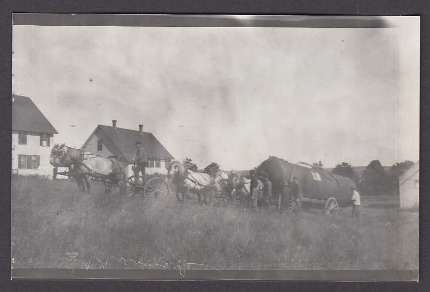 Pollack Mill & Eaton's Ice House Mansfield RPPC postcard #5 Horses