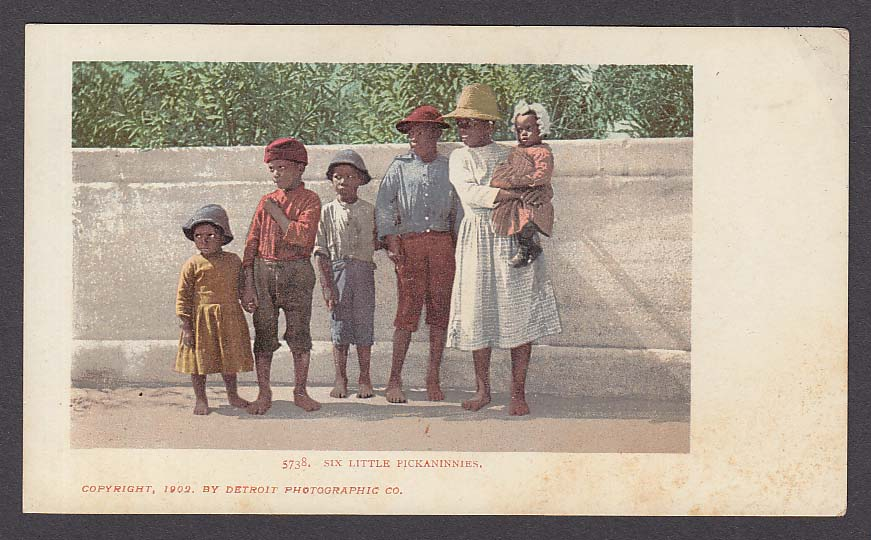 """Pickaninnies"" Black American Stereotype undivided back postcard 1902"