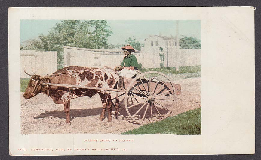 """Mammy"" on Ox Cart Black Stereotype undivided back postcard 1902"