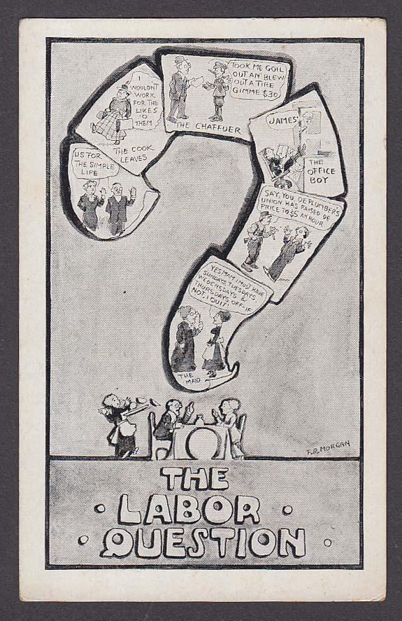 The Labor Question Unions F R Morgan comic postcard 1910s