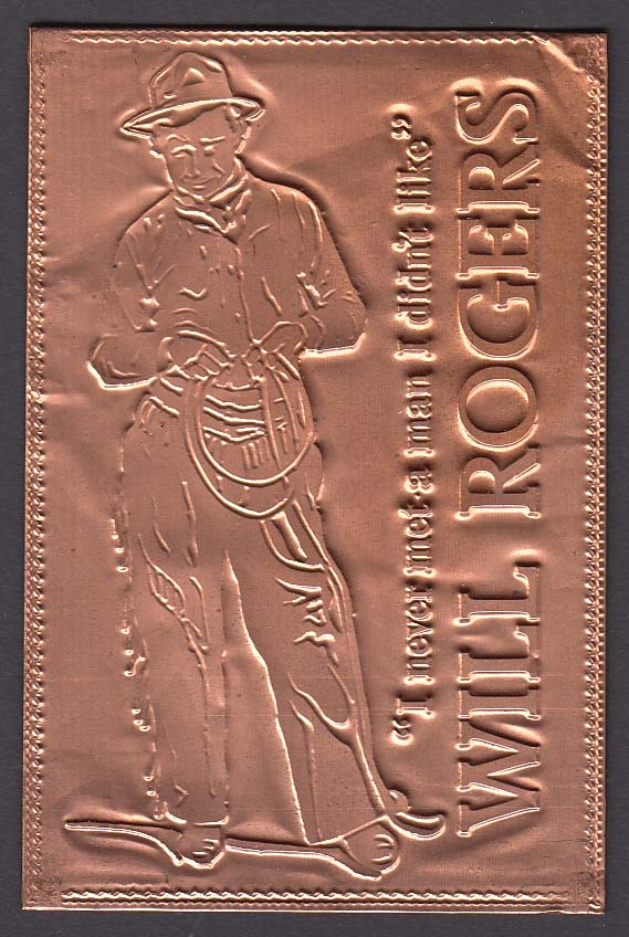 Will Rogers engraved copper postcard 1970s