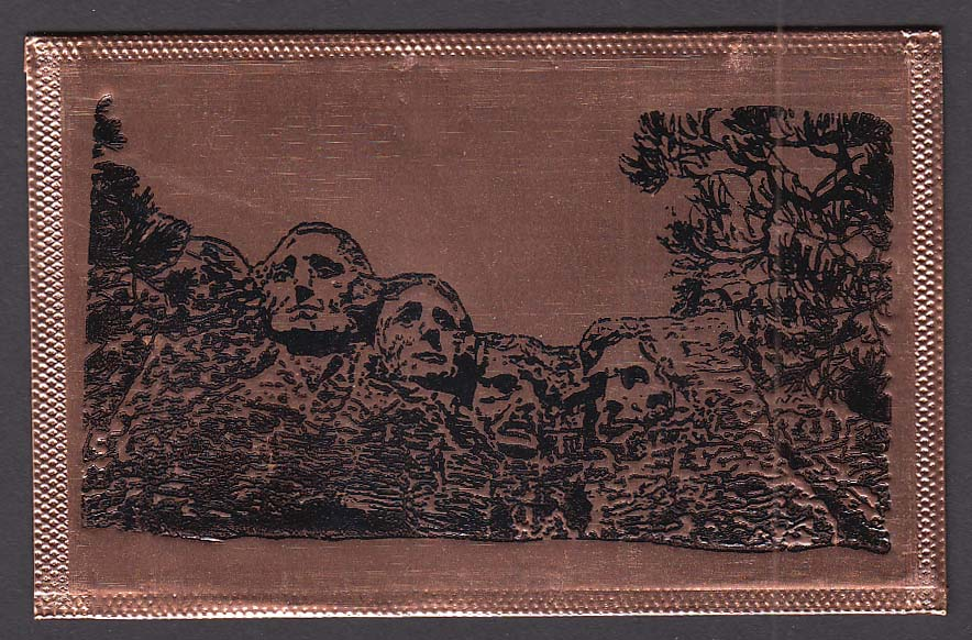 Mount Rushmore SD engraved copper postcard 1970s