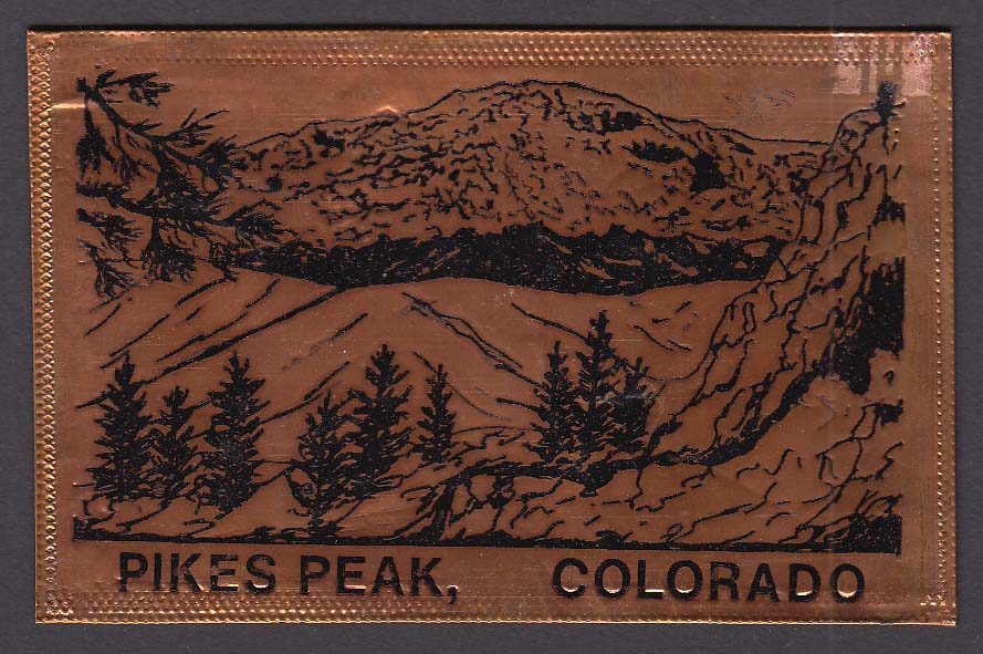 Pikes Peak CO engraved copper postcard 1989