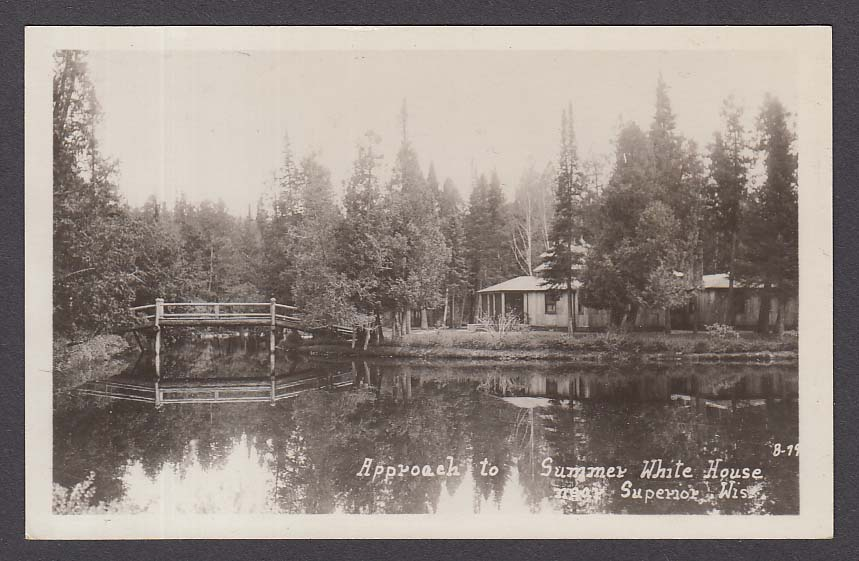 Approach to Summer White House near Superior WI RPPC postcard 1920s