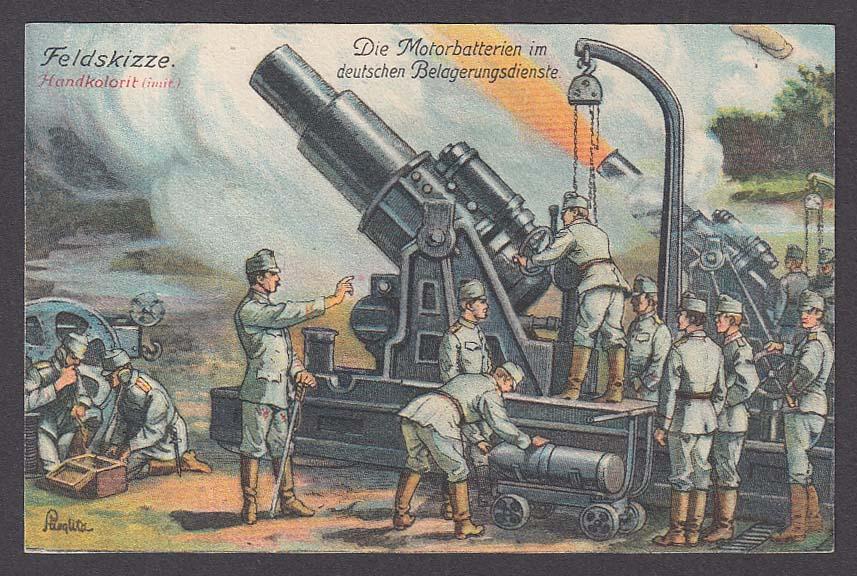 Field Sketch of German Howitzers Siege Batteries WWI postcard 1910s