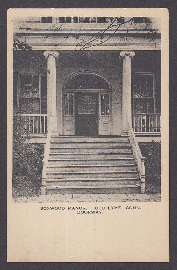Doorway at Boxwood Manor Old Lyme CT postcard 1920s