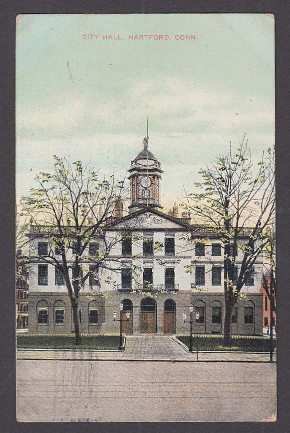 City Hall Hartford CT postcard 1909