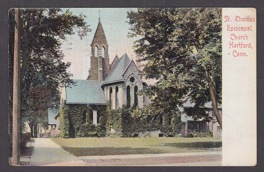 St Thomas Episcopal Church Hartford CT postcard 1908