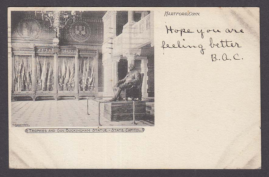 Gov Buckingham Statue State Capitol Hartford CT undivided back postcard 1905
