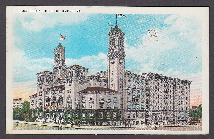 Jefferson Hotel Richmond VA postcard 1934