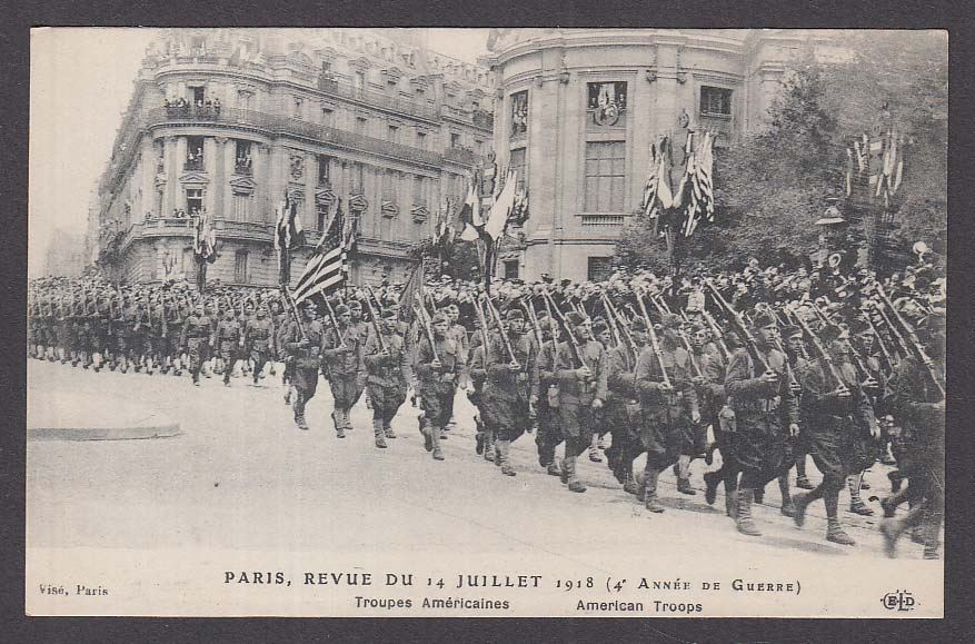 American Troops Marching in Paris France WWI postcard 1918