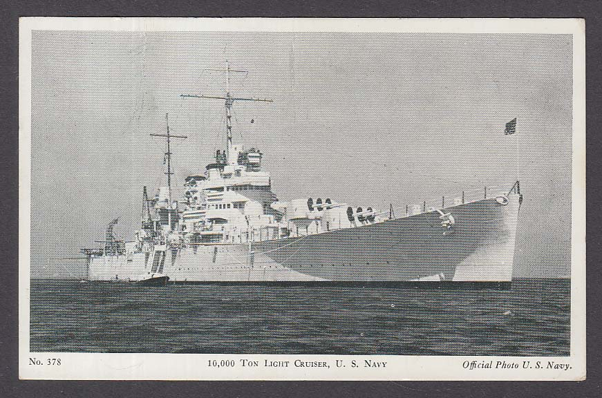 10,000 Ton Light Cruiser US Navy postcard #378 1940s