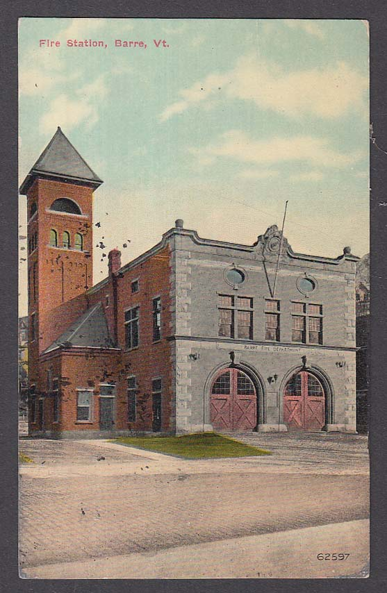 Fire Station Barre VT postcard 1911