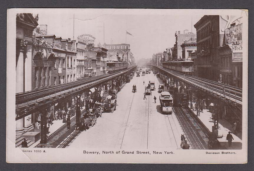 Copperfield & Cleveland Glassheim Bowery Grand St New York NY RPPC postcard 1909
