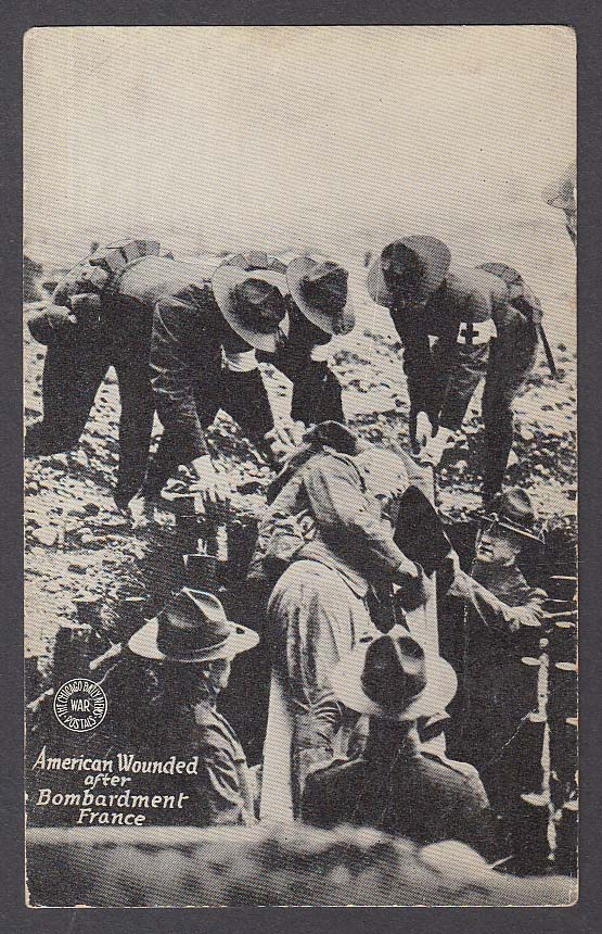 American Wounded in France Chicago Daily News WWI postcard 1910s