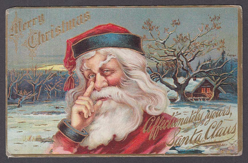 Merry Christmas Santa Claus finger alongside nose embossed postcard 1911