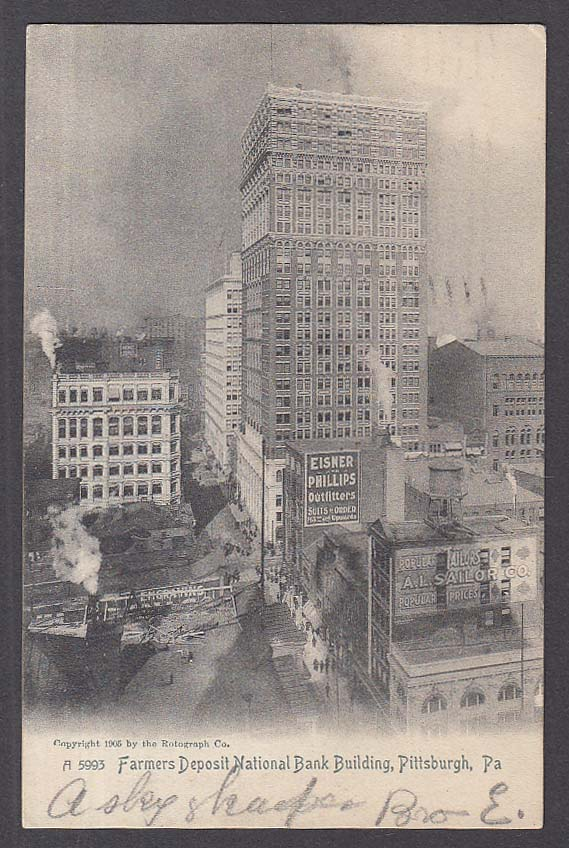 Eisner Phillips Farmers Deposit National Bank Pittsburgh PA postcard 1905