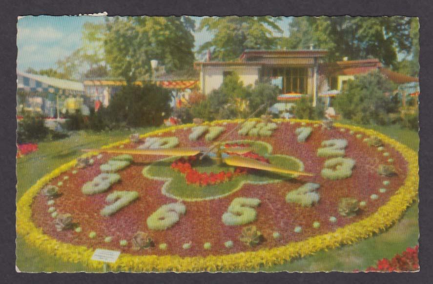 Floral Clock L'horloge fleurie Geneva Switzerland postcard 1957