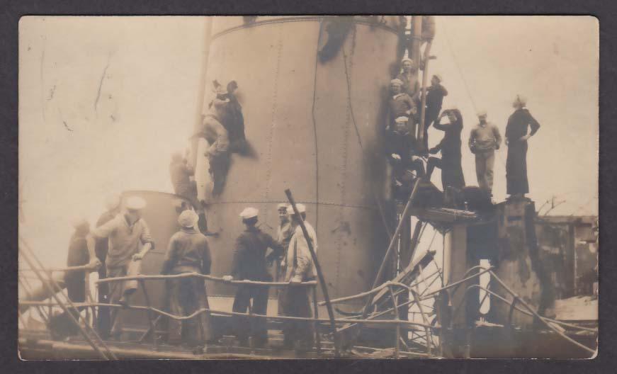 US Sailors aboard USS Texas San Marcos target ship RPPC postcard 1911
