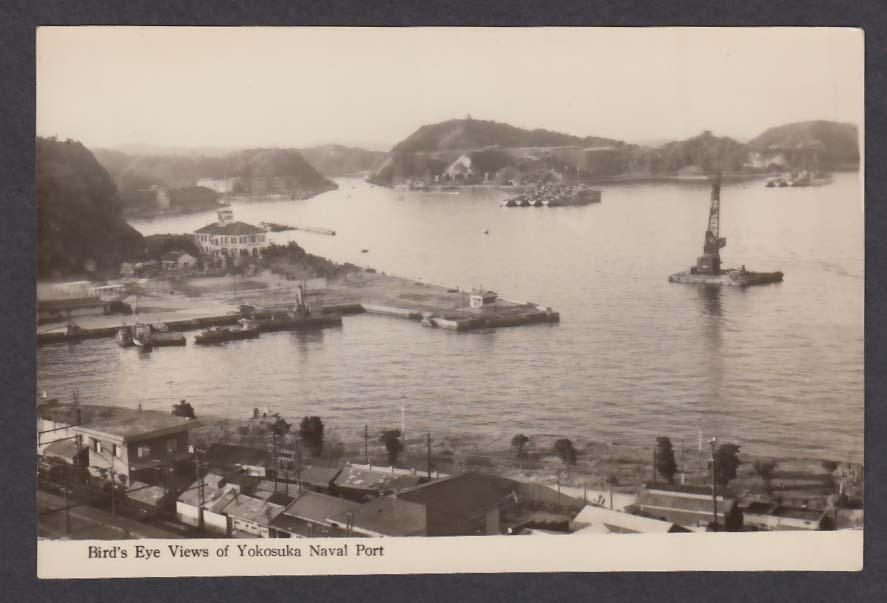 Bird's Eye Views of Yokosuka Naval Port Japan RPPC postcard 1940s