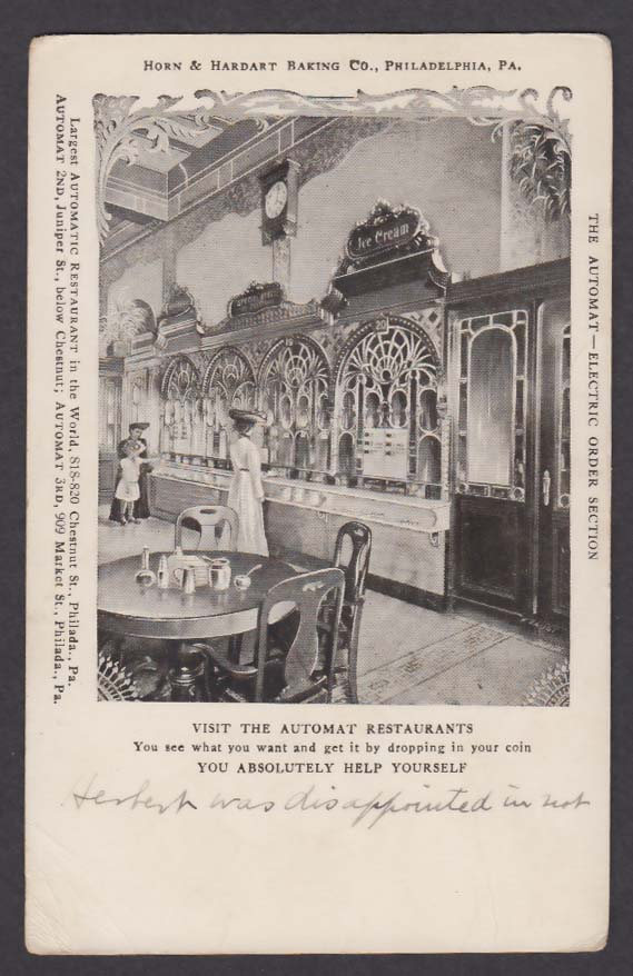 Horn Hardart Baking Co Automat Philadelphia PA undivided back postcard 1900s