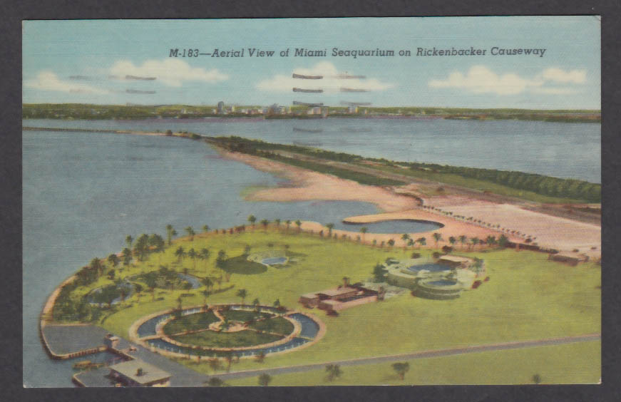 Aerial View of Miami Seaquarium on Rickenbacker Causeway FL postcard 1959