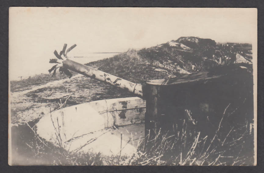 Cannon destroyed by the Germans in Zeebrugge Belgium WWI RPPC postcard 1910s
