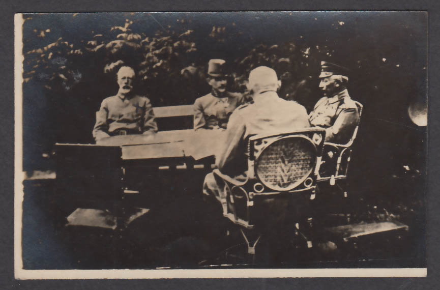 Kaiser & Prince Karl at conference behind lines German WWI RPPC postcard 1910s