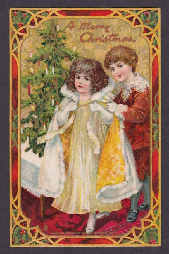 Merry Christmas embossed postcard boy gives girl fur cloak 1910s