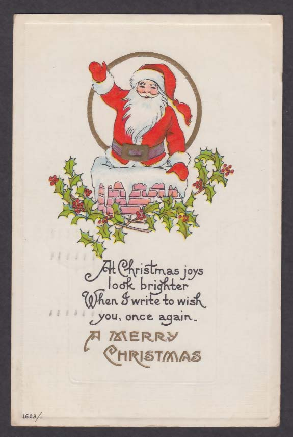 Santa Claus going down chimney Christmas embossed postcard 1915 holly leaves