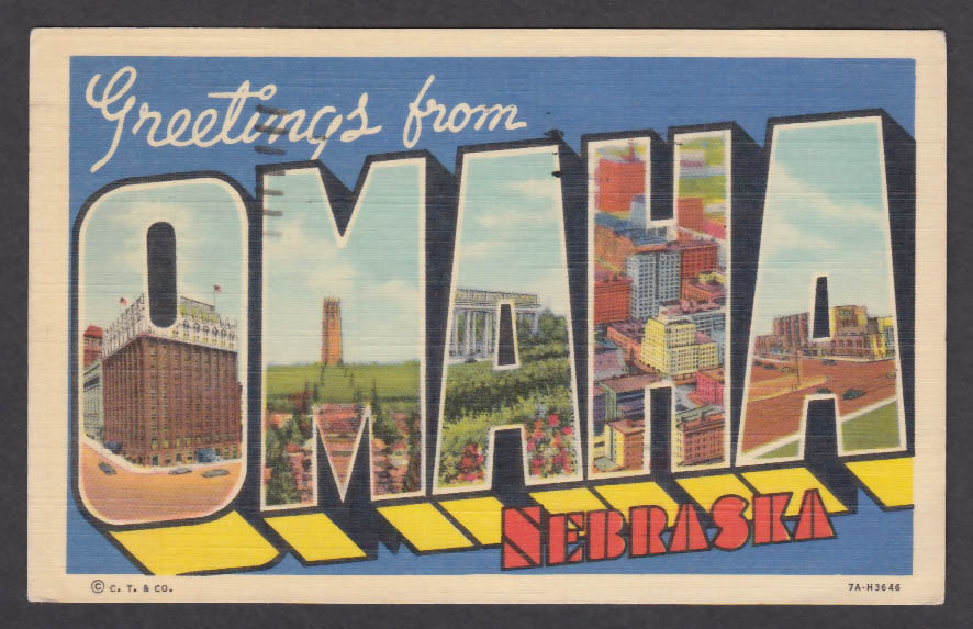 Greetings from OMAHA Nebraska large letter postcard 1951