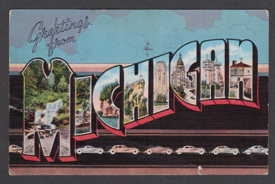 Greetings from michigan large letter postcard 1942 cars m4hsunfo