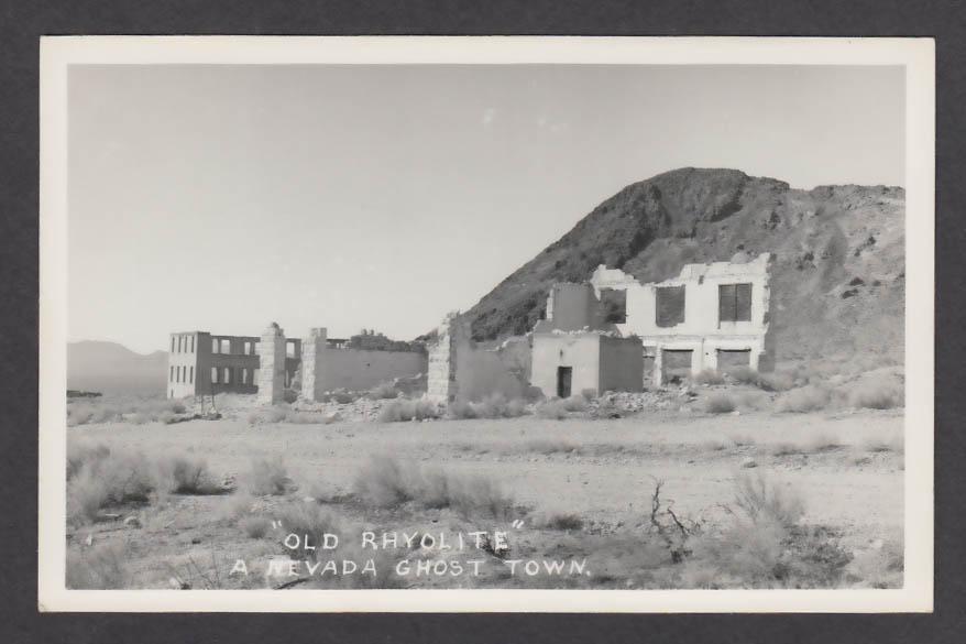 """Old Rhyolite"" Ghost Town NV RPPC postcard 1950s"
