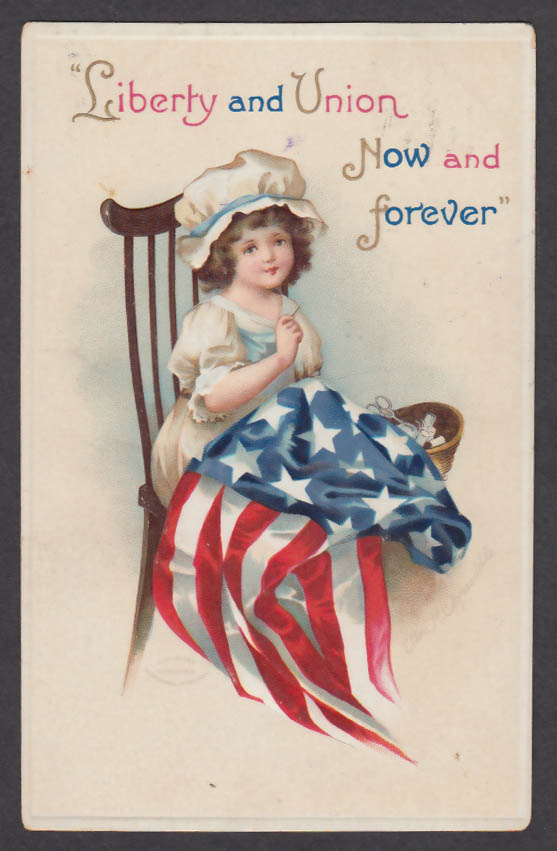 Liberty & Union Now & Forever Ellen Clapsaddle embossed postcard 1912