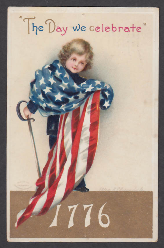 The Day we Celebrate Ellen Clapsaddle embossed postcard 1912 July 4th