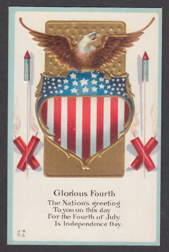 Glorious Fourth of July embossed postcard 1910s bald eagle fireworks