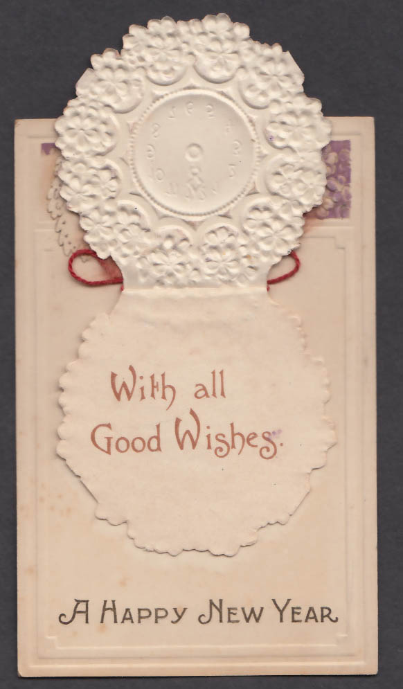 A Happy New Year With all Good Wishes embossed pop-up postcard 1910s