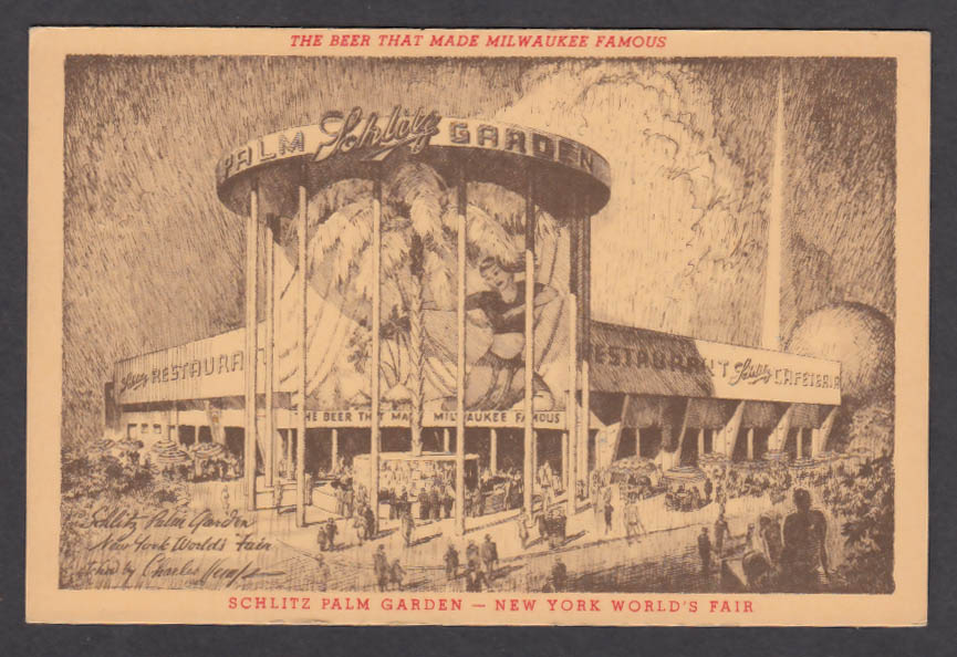 Schlitz Palm Garden New York World's Fair postcard 1939